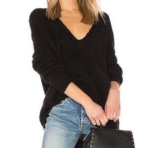 Free People Chunky Lofty Black V-Neck Sweater